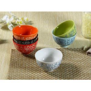 茶碗 4.3号 6色 タンポポ模様 ご飯 ライス ボウル陶磁器 カラバリ おしゃれ 北欧風 軽い 訳あり|nishida-store