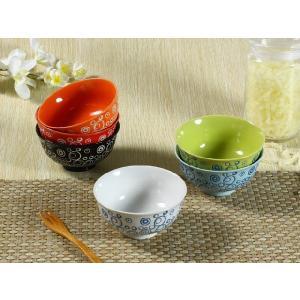 茶碗 4.5号 6色 水玉模様 ご飯 ライス ボウル スープ おしゃれ カラバリ 北欧風 訳あり シンプル まんぷく nishida-store