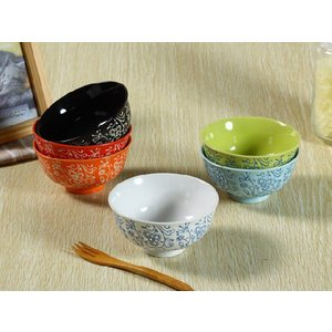 茶碗 4.5号 6色 タンポポ模様 ご飯 ライス ボウル スープ レンジOK 北欧風 訳あり おしゃれ カラバリ|nishida-store