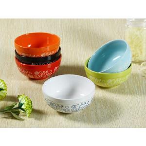 茶碗 5.5号  6色 水玉模様 ライス ボウル スープ サラダ 軽い 陶磁器 おしゃれ カラバリ 大きい 訳あり nishida-store