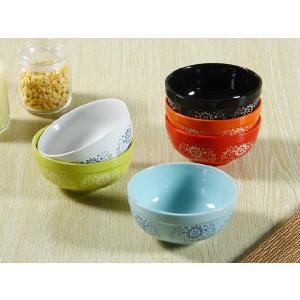 茶碗 5.5号 6色 ひまわり模様 ライスボウル レンジOK おしゃれ 花柄 カラバリ|nishida-store