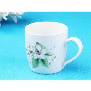 特価商品 マグカップ 340ml  白磁 おしゃれ レンジOK 軽い シンプル 白い花 かわいい カフェ|nishida-store