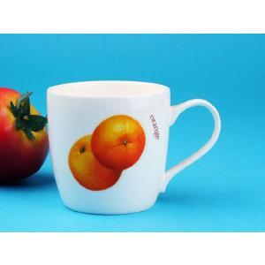 特価商品 マグカップ 340ml  オレンジ  コップ 白い こぼれない  強化磁器 軽い シンプル かわいい 花柄 おしゃれ コーヒー ティー スタバ風|nishida-store