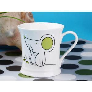 マグカップ 330ml  十二支 鼠 子 白い 強化磁器 白磁 軽い おしゃれ 北欧風 大きい シンプル|nishida-store