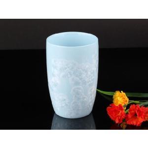 カラー浮き絵コップ 水色 <br>透明釉薬使用天然発色磁器製|nishida-store