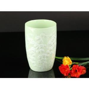 カラー浮き絵コップ 緑色 <br>透明釉薬使用天然発色磁器製|nishida-store