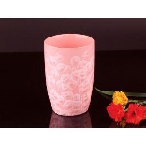 カラー浮き絵コップ 潤朱色 <br>透明釉薬使用天然発色磁器製|nishida-store