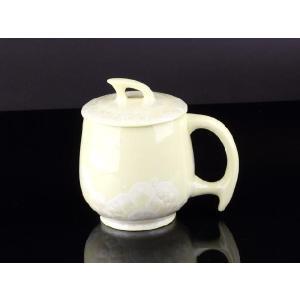 カラー蓋付マグカップ 黄色 <br>透明釉薬使用天然発色磁器製 コップ/カップ/陶磁器/磁器|nishida-store