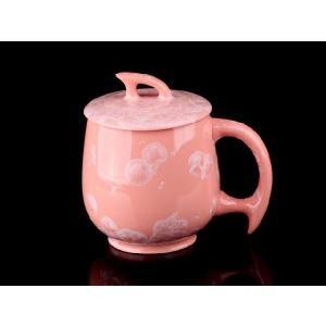 カラー蓋付マグカップ 潤朱色  425ml <br>透明釉薬使用天然発色磁器製 コップ/カップ/陶磁器/磁器|nishida-store