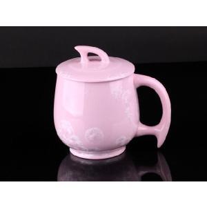 カラー蓋付マグカップ 薄紅色 <br>透明釉薬使用天然発色磁器製 コップ/カップ/陶磁器/磁器|nishida-store