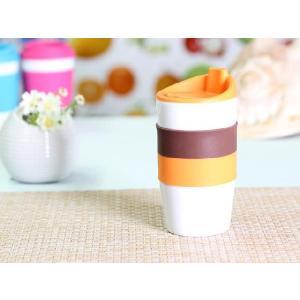 タンブラー  425ml 単層 オレンジ色の蓋  白磁 おしゃれ シリコン 大きい 陶磁器|nishida-store