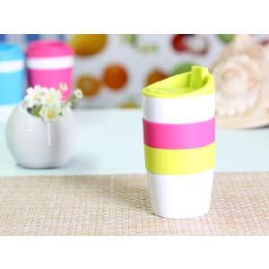 タンブラー  425ml 単層 黄緑色の蓋  白磁 おしゃれ シリコン 大きい 陶磁器|nishida-store