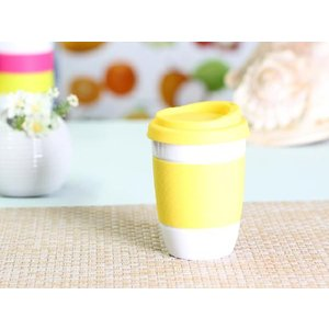 タンブラー  320ml 単層 黄色の蓋  白磁 おしゃれ シリコン 小さい 陶磁器|nishida-store