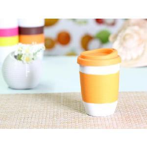 タンブラー  320ml 単層 オレンジ色の蓋  白磁 おしゃれ シリコン 小さい 陶磁器|nishida-store