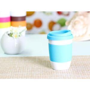 タンブラー  320ml 単層 水色の蓋  白磁 おしゃれ シリコン 小さい 陶磁器|nishida-store