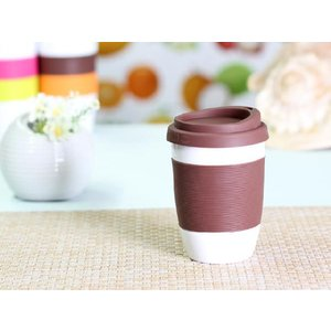 タンブラー  320ml 単層 茶色の蓋  白磁 おしゃれ シリコン 小さい 陶磁器|nishida-store