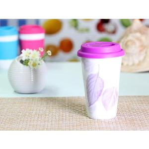 タンブラー 320ml 紫色 葉っぱ柄 シリコン 蓋付き 二層構造 おしゃれ レンジOK カフェ|nishida-store