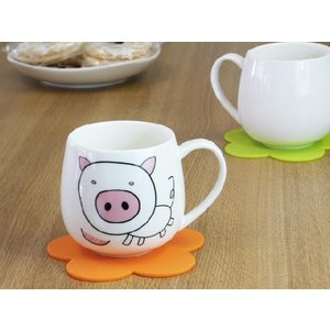 マグカップ 400ml 十二支 猪 亥 強化磁器 白磁 おしゃれ 割れにくい 大きい 丸い かわいい 北欧風|nishida-store