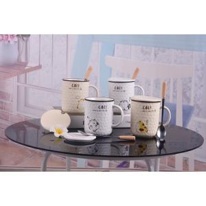 ふた付きマグカップ(猫) 蓋付き マドラー付き 陶器製 可愛い お洒落 大容量 コーヒー 紅茶 ジュース牛乳 カフェオレ|nishida-store