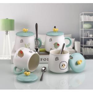 ふた付きマグカップ(小鳥) 蓋付き マドラー付き 陶器製 可愛い お洒落 大容量 ホコリ 飛沫飛散防...