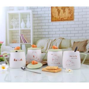 ふた付きマグカップ(うさぎ ウサギ 450ml) 蓋付き マドラー付き 陶器製 可愛い お洒落 大容量 コーヒー 紅茶 ジュース牛乳 カフェオレ|nishida-store