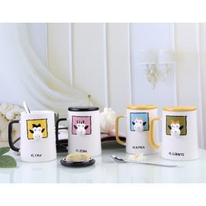 ふた付きマグカップ(3D 牛 350ml) 蓋付き マドラー付き 陶器製 可愛い お洒落 大容量 コーヒー 紅茶 ジュース牛乳 カフェオレ|nishida-store