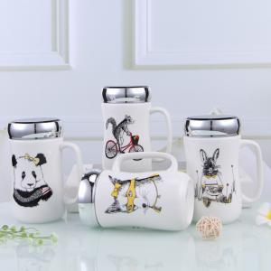 ねじ口鏡面ふた付きマグカップ(動物デッサン 440ml) 蓋付き ふた付き 陶器製 可愛い お洒落 大容量 コーヒー 紅茶 ジュース牛乳 カフェオレ こぼれない|nishida-store