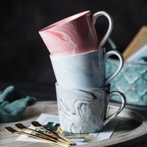 オシャレなマグカップ(マーブル柄 370ml) プレゼント カフェ食器 カラフル  カップ 陶器 磁器 陶磁器 大理石|nishida-store