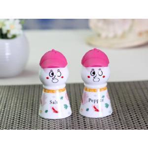 調味料入れ セット ピンク  ソルト ペッパー 陶磁器 シリコン 雪だるま おしゃれ かわいい|nishida-store