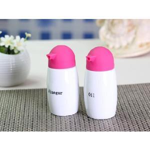調味料入れ セット ピンク色 150ml  醤油入れ 陶磁器 シリコン 瓶形 おしゃれ かわいい|nishida-store