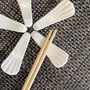 箸置き おしゃれ かわいい  6.7cm 雀尾型  カトラリーレスト スプーン置き 白磁 小さい 無地 シンプル カフェ|nishida-store