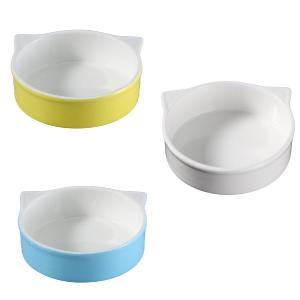 ペット用食器 猫型  軽い 白磁 無地 おしゃれ フードボウル 強化磁器 レンジOK 丸い|nishida-store