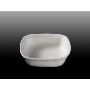 ペット用食器 四角  陶磁器 軽い 白磁 無地 おしゃれ フードボウル 強化磁器 レンジOK スクエア|nishida-store