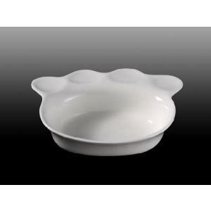 ペット用食器 猫の肉球形  陶磁器 軽い 白磁 無地 おしゃれ フードボウル 強化磁器 レンジOK 小さい|nishida-store