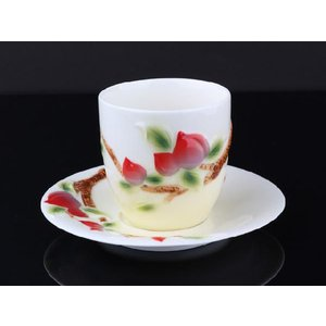 高級ハンドペイント 桃レリーフお茶コップ&ソーサー|nishida-store