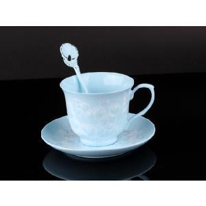 紅茶カップ&ソーサー&スプーン 水色 <br>透明釉薬使用天然発色磁器製|nishida-store