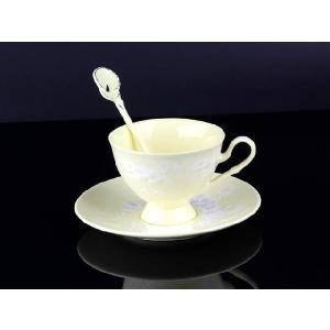 紅茶カップ&ソーサー&スプーン 黄色 <br>透明釉薬使用天然発色磁器製|nishida-store