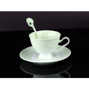 紅茶カップ&ソーサー&スプーン 緑色 <br>透明釉薬使用天然発色磁器製|nishida-store