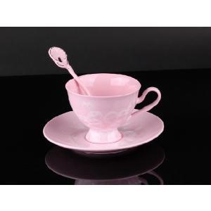 紅茶カップ&ソーサー&スプーン 薄紅色 <br>透明釉薬使用天然発色磁器製|nishida-store