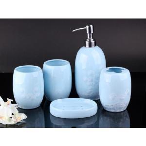 特価商品 バスグッツ 5点セット  水色  透明釉薬使用天然発色磁器製 おしゃれ 大きい|nishida-store