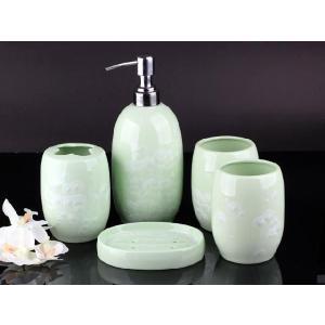 透明釉薬使用天然発色磁器製バス5点セット 緑色|nishida-store