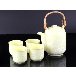 特価商品 急須 湯呑み 5点セットA 黄色 <br>透明釉薬使用天然発色磁器製 おしゃれ 小さい|nishida-store