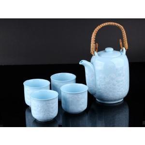 特価商品 お茶5点セットA 水色  透明釉薬使用天然発色磁器製|nishida-store