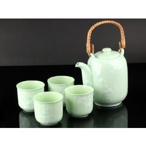 お茶5点セットA 緑色 <br>透明釉薬使用天然発色磁器製|nishida-store