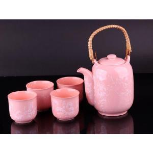 お茶5点セットA 潤朱色 <br>透明釉薬使用天然発色磁器製|nishida-store