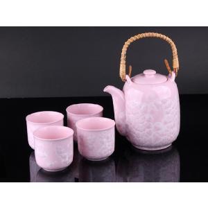 お茶5点セットA 薄紅色 <br>透明釉薬使用天然発色磁器製|nishida-store