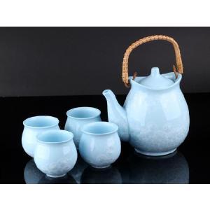 お茶5点セットB 水色 <br>透明釉薬使用天然発色磁器製|nishida-store