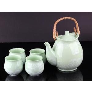 お茶5点セットB 緑色 <br>透明釉薬使用天然発色磁器製|nishida-store