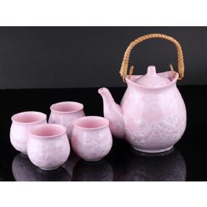 お茶5点セットB 薄紅色 <br>透明釉薬使用天然発色磁器製|nishida-store