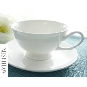 カップソーサー セット 210ml 白磁 おしゃれ レンジOK 軽い カフェ コーヒーカップ ティーカップ 強化磁器|nishida-store